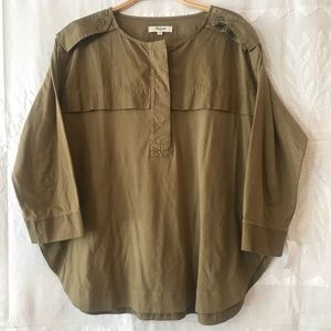 Madewell oversized army color top.